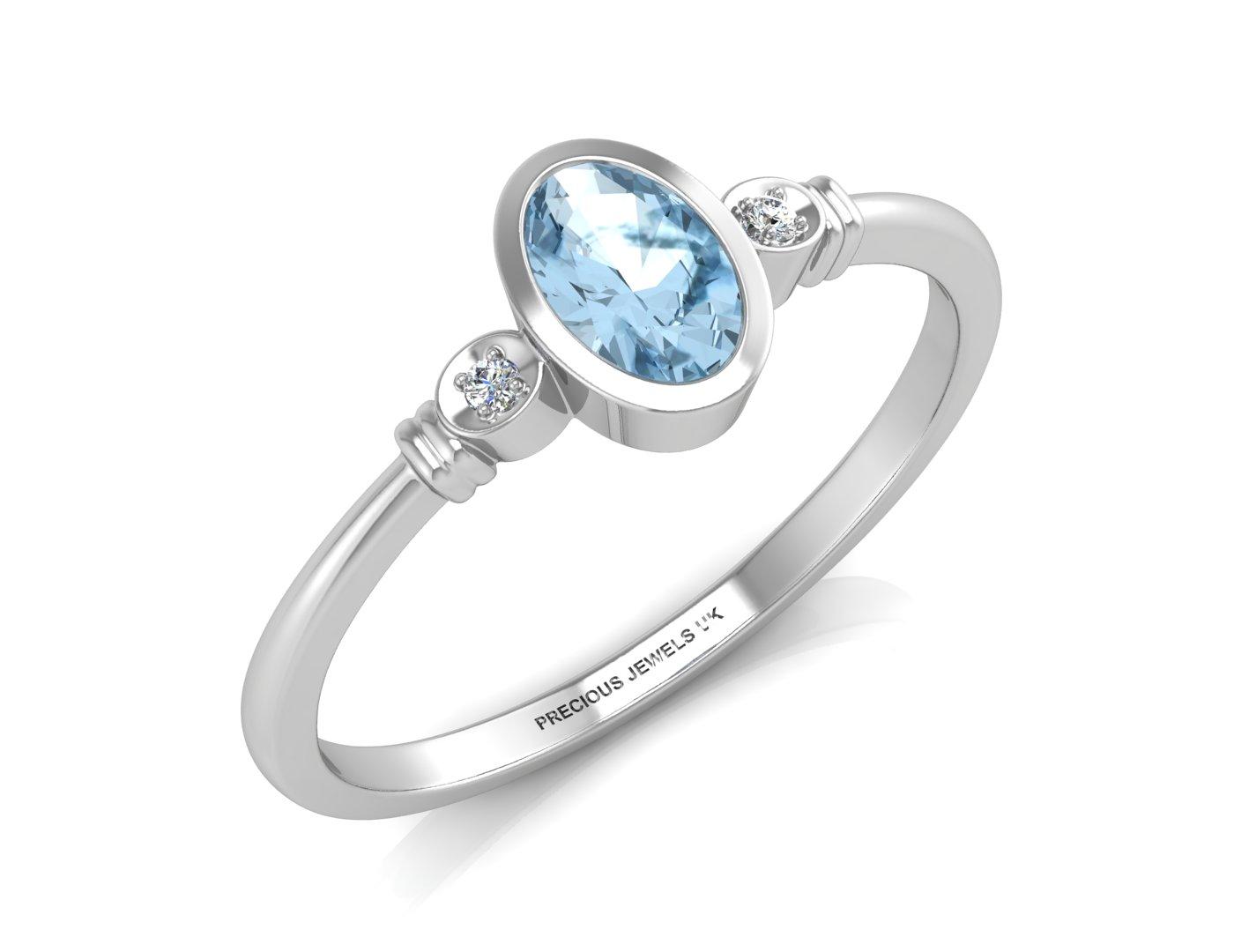 9 karat wei gold diamant ovale form blauer topas ring ebay. Black Bedroom Furniture Sets. Home Design Ideas