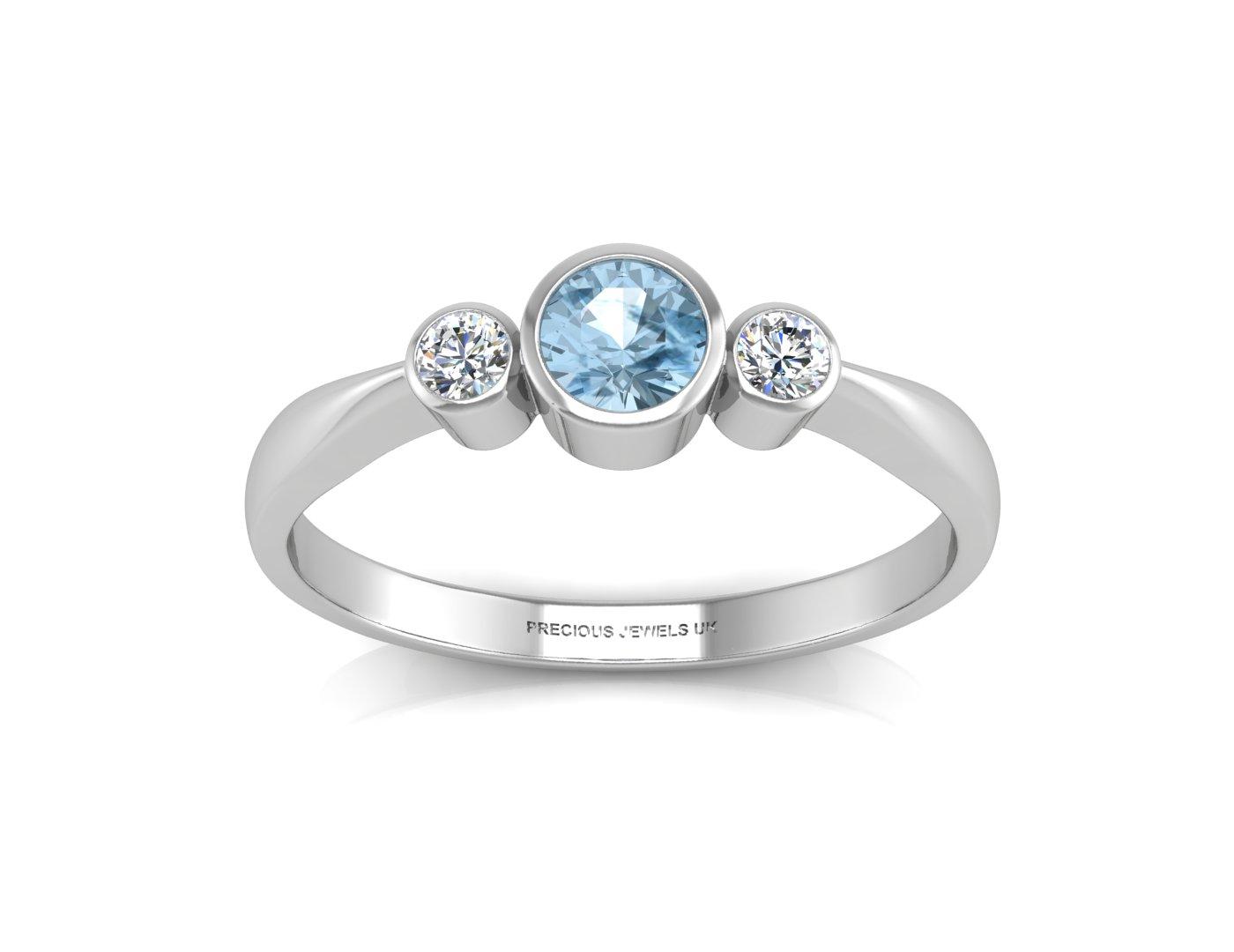 9 karat wei goldthree stein diamant blauer topas. Black Bedroom Furniture Sets. Home Design Ideas