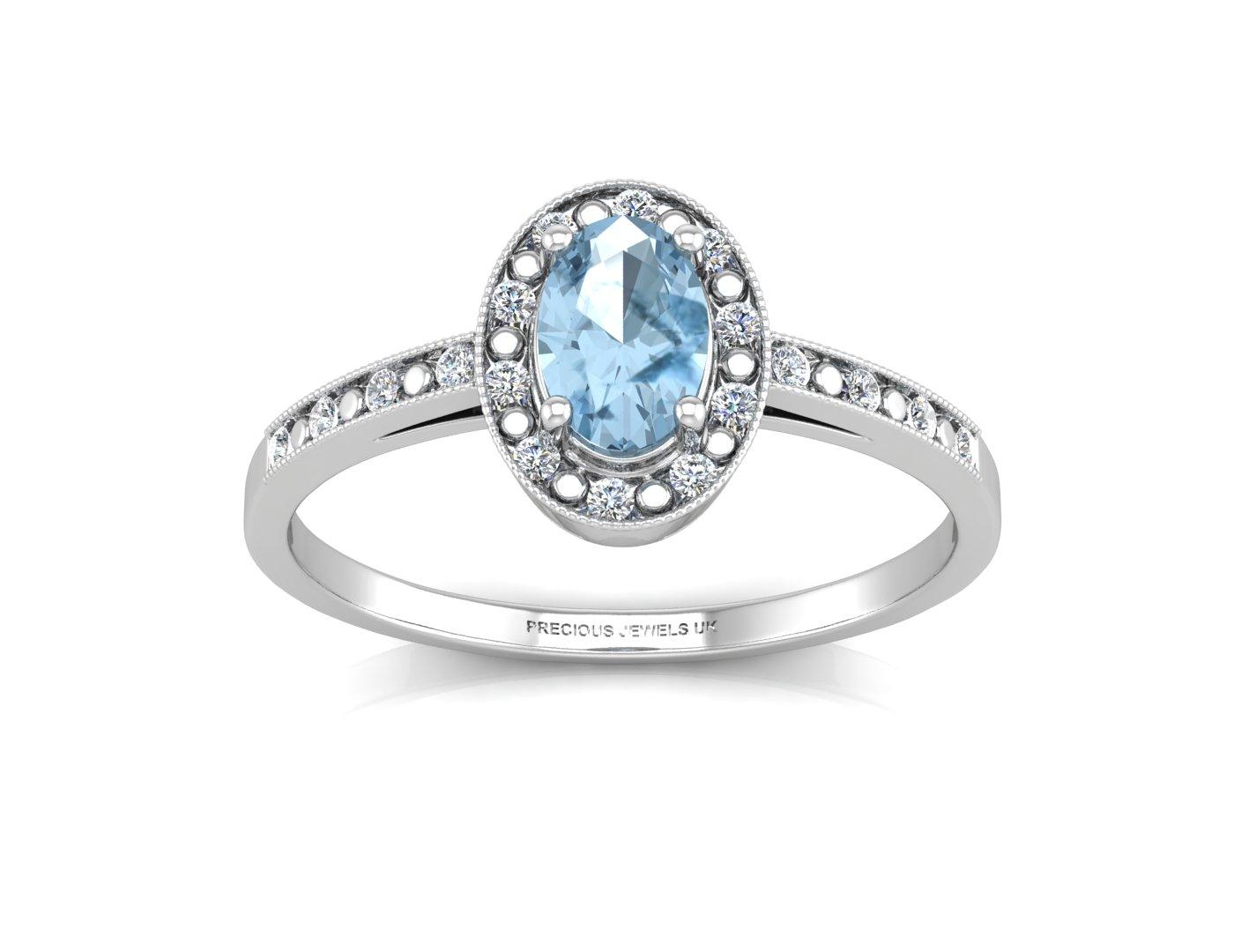 9 karat wei gold diamant ovale form blauer topas. Black Bedroom Furniture Sets. Home Design Ideas
