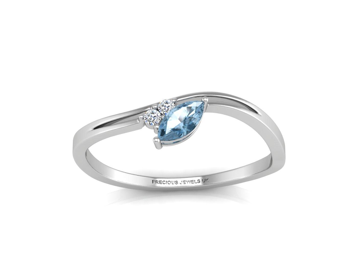diamant und marquise geformt blauer topas ring. Black Bedroom Furniture Sets. Home Design Ideas