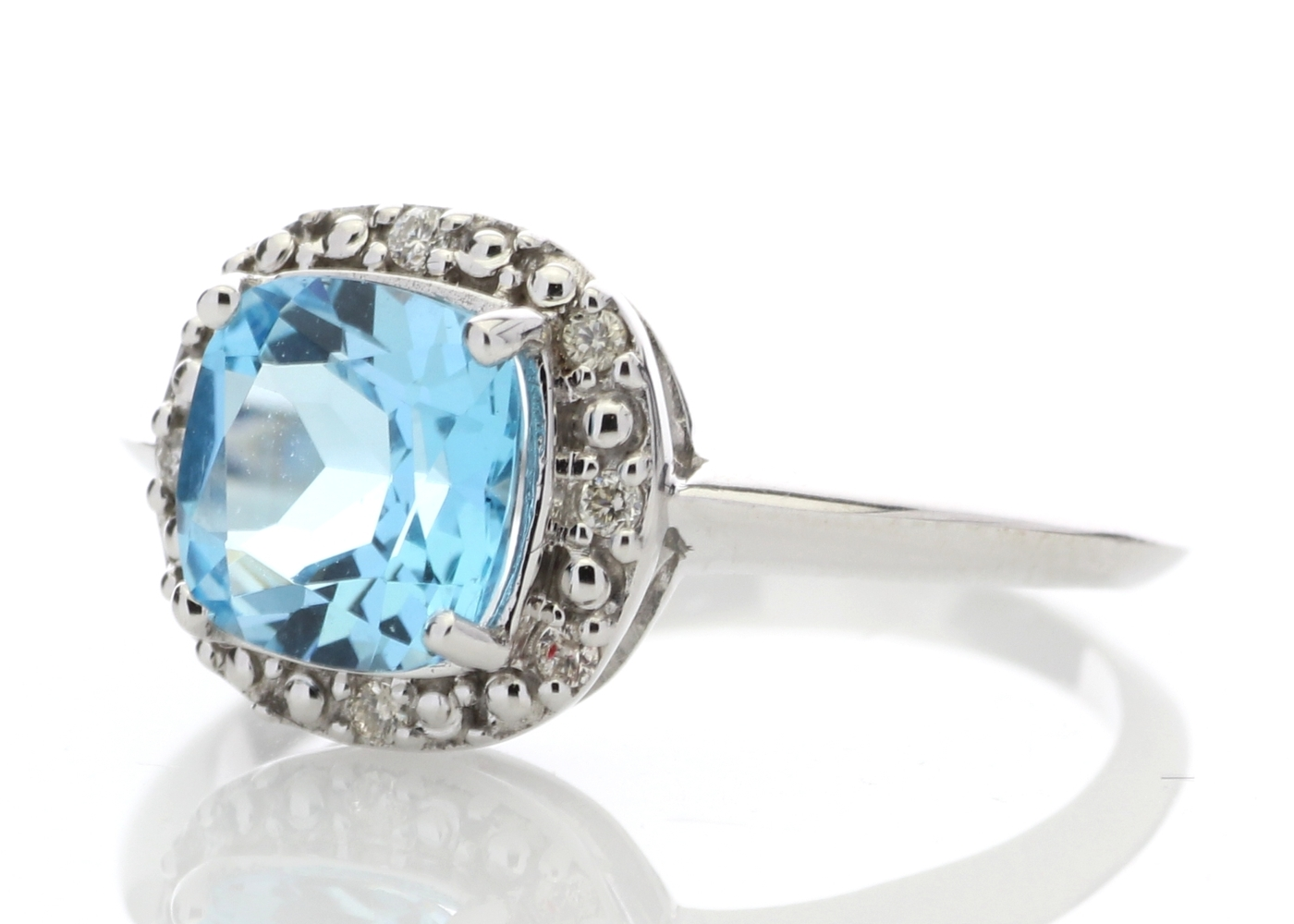 diamant kissen schnitt blauer topas halo satz 9 karat. Black Bedroom Furniture Sets. Home Design Ideas