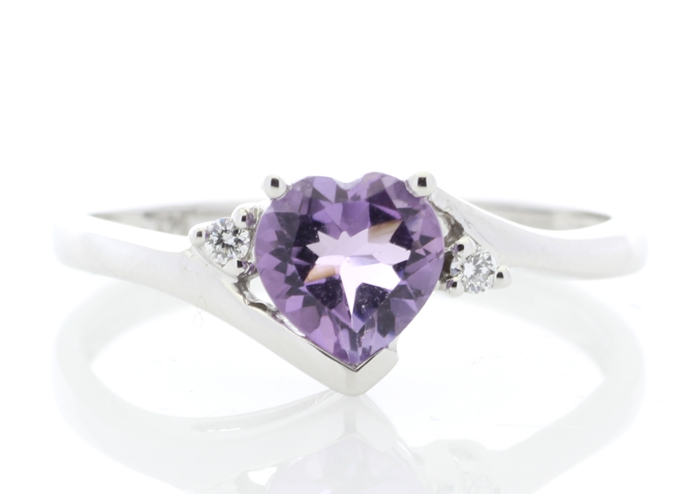 081c4e2a0ca35 Details about Amethyst Ring Diamond 9 carat White Gold Cert AGI FREE Ship  ~RRP £345