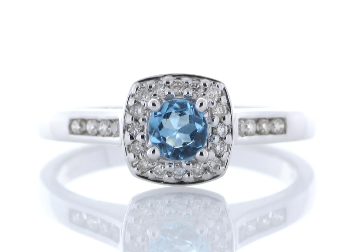 diamant und blauer topas 9 karat weiss gold haufen gruppe. Black Bedroom Furniture Sets. Home Design Ideas